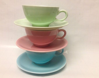 Mid Century Shenendoah Pastel Cups And Saucers By Paden City Pottery, 1940s Collectible Replacements/Gift Idea/USA Made/American Potteries