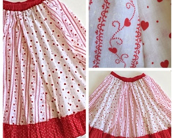 60s Circle Skirt - Red Hearts and Ruffles Vintage Summer Skirt