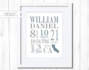 Birth Announcement Nursery Wall Art. Gray and Blue Wall Art.