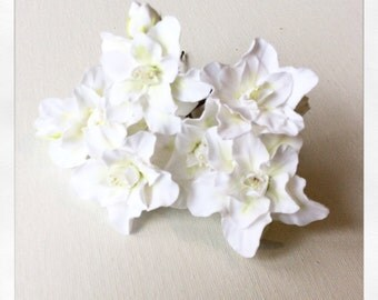 Hair bobby pin flowers. White azalea. Set of 6.