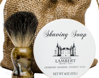 Shaving kit - Shaving soap + badger shaving brush. vintage Shaving kit - mens soap - mens gift ideas - Vegan soap - mens gifts