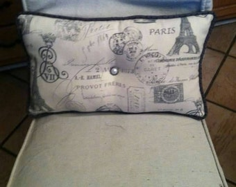 "Pillow Paris Theme Handmade 18"" x 12"""