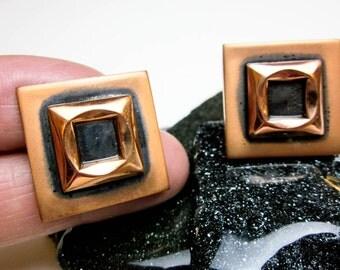 60s Cuff Links Brutalist Copper & Black Oxidized, by Renoir, Hip Elegant, LA USA, Ex. Condition.