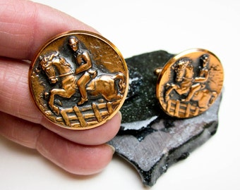 50s Dressage Horse Cuff Links, Copper, High Relief, Unusual for Dressage Rider, Steeplechase Racer, & Fox Hunter. Ex. Condition, USA.