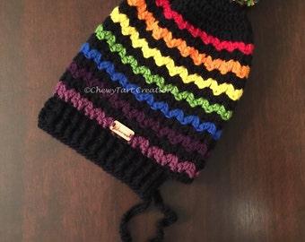 Crochet Ziggy Zaggy Pom Pom Hat