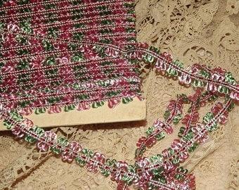 ANTIQUE / VINTAGE Picot Flower Ribbon Trim  Pink & Green BTY