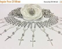 10%off weekend sale 25 pcs Pearl Decade Rosaries, Mini Rosaries, Baptism, First communion favors Recuerditos Bautizo 25pz/ Mini Pearl Rosary