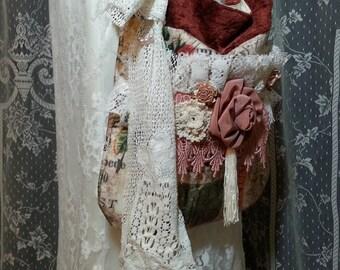Shabby Chic Boho Bag - Romantic Cross Body Bag - Boho Gypsy Purse - Vintage Inspired Lacey Bag