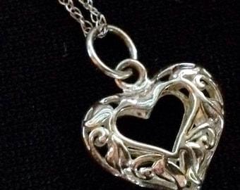 "Sterling Silver Open Heart Filigree Pendant on 18"" Sterling Silver Chain (st - 1547)"