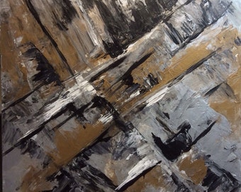 City Abstract 1, acrylic original art painting on canvas with pallet knife. Colors used are gold, black and white and silver.