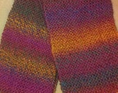 Hand knit chunky multicolored scarf