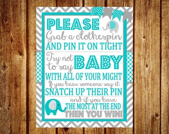 Teal and Gray Elephant Clothespin Baby Shower Game - Digital File- DIY Printable- Elephant Baby Shower Game, Chevron Party Printable