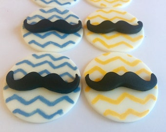 Fondant Mustache Cupcake Cookie Toppers