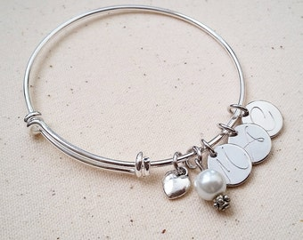 Handstamped Initial Bangle Bracelet