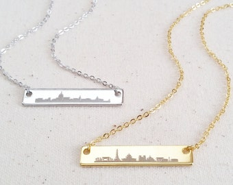 Cityscape Silhouette Engraved Bar - Personalized Jewelry