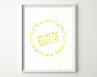 Baby Nursery Wall Decor - You are my Sunshine - Yellow Nursery Wall Art - Baby Girl or Baby Boy - Modern Nursery Prints