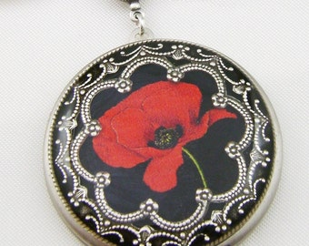 Resin Locket Red Poppy Replated Silver Vintage Locket Photo Locket, Valentine's Gift,  Wedding Locket Picture Locket