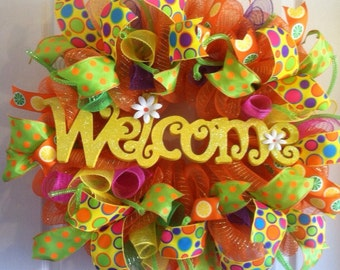 Summer Wreath/ Welcome Wreath/ Summer Deco Mesh Wreath/ Summer Door Decor
