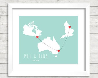 8x10 International Love Map - Three Countries, One Print - Guelph, Ontario, Canada - Sydney, Australia - Hull, United Kingdom