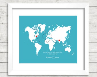 Cute map of us for long distance