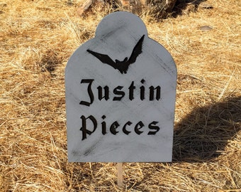 Halloween Tombstone Justin Pieces Engraved Wood Halloween Decor