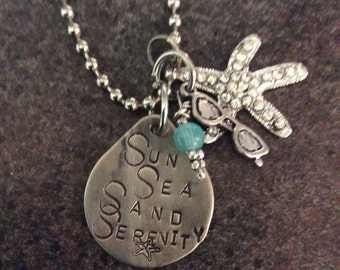 Stamped Sun Sea Sand Serenity necklace
