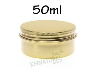 Empty Tin Cosmetic Pots Jar Box Containers Aluminium Gold 50ml