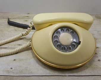 Northern Telecom Rotary Dial Telephone, vintage phone saucer shaped atomic phone