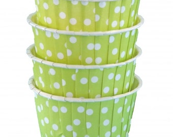 Lime Green Polka Dot Nut Cups-Lime Green Candy/Nut Cups are perfect for filling with candy, nuts or other snacks.