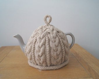 Hand Knitted Tea Cosy Light Beige - BAILEY