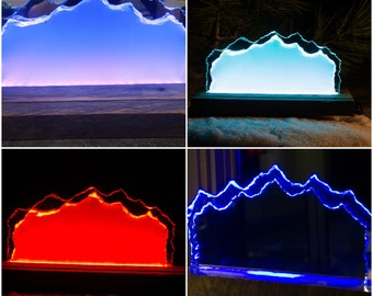 LED Glass Mirror Mountain ART - Custom Made - Color Changing Modes with Remote RGB 5050