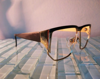 Gold Metal Glasses Marcolin Frames Italy Oversized Geometric