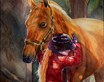 Little Girl Hugging her Morgan Horse Print on watercolor paper mounted on white or black mat ready to slip into a standard frame