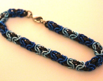 Blue, Light Blue, and Black Anodized Aluminum Byzantine Chainmaille Bracelet