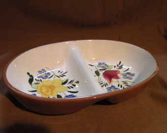 Vintage Stangl Country Garden Divided Serving Bowl