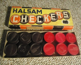 Vintage Halsam Checkers Complete 24 Wooden Wood Pieces in Original Box
