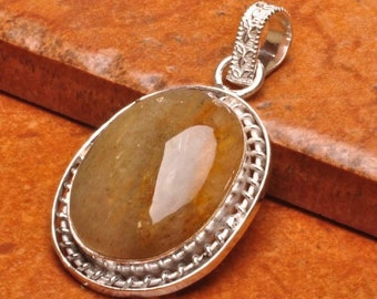 Gorgeous Golden Rutilated Quartz Silver Pendant Perfect Gift