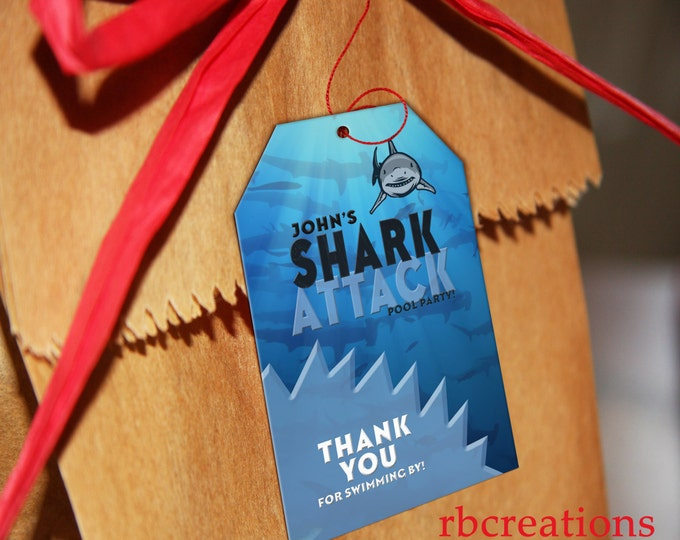 Shark Party Favor Tags, Shark Birthday Invitation, Pool Party, Shark Attack Party, Shark Party, Shark Pool Party - Digital Printable