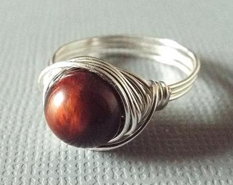 Red Tiger Eye Ring, Wire Wrapped Ring, Unique Ring, Ring for Boyfriend, Girlfriend Gift, Cherry Ring, Mahogany Ring, Tiger Eye Jewelry