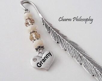 Granny Bookmark - Grandma Gifts - Unique Beaded Bookmark - Tibetan Silver Charm Bookmark