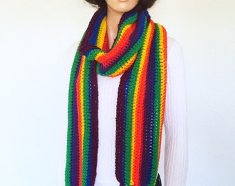 Rainbow Crochet Scarf/ Handmade Rainbow Scarf/ Winter fashion scarf/ Fall and Spring Fashion/ Trending item/ College Trends/ Christmas Gift