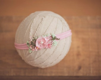 Baby Headband, Madeliene Baby & Girls headband, Pink Photo Prop, Pink Green Newborn Headband, Rose Headband, Floral Headband, Womens Prop