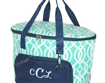 Cooler Bag   Beach Cooler   Pool Cooler   Lunch Tote   Personalized Cooler Bag   Personalized Cooler    Picnic Bag   Mint Vine w Navy Trim
