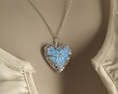 USA made and ready to ship! Glowing Heart of Atlantis glow steampunk necklace SKY BLUE glow in the dark