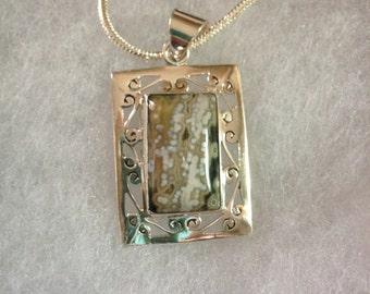 Ocean Jasper Gemstone Pendant in Sterling Silver Design NEW