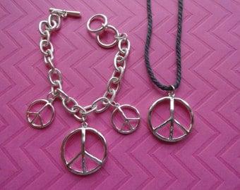 Silver peace sign charm bracelet and pendant set - 50% off