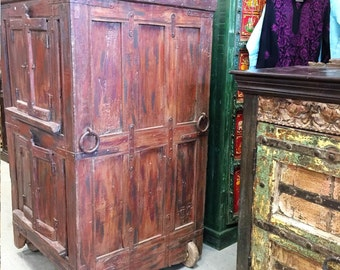 Antique Almirah Furniture Red Cabinet Vintage Indian Armoire on wheels Mediterranean Boho Shabby Chic Interiors
