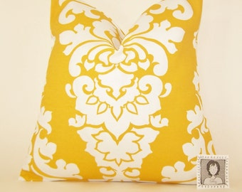 Yellow Outdoor Pillow Cover - Yellow and White Damask PILLOW -  All Sizes - Indoor/Outdoor - Premier Prints - Pillow Cover