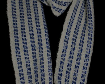 Hand woven blue and white alpaca scarf