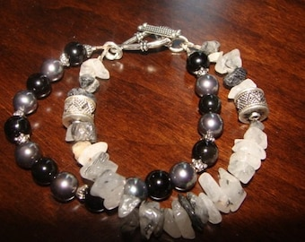 Onyx, Hematite and Jasper Double Bracelet in Sterling Silver